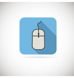 Computer mouse flat icon with long shadow vector image