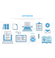 Copywriting or copywiter concept with icon set vector