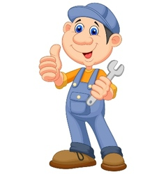 Cute mechanic cartoon holding wrench and giving th vector image
