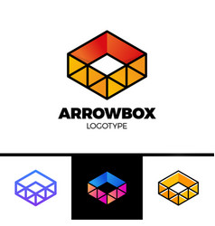 delivery box with arrow logo and triangle symbol vector image