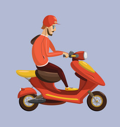 delivery boy ride scooter motorcycle service vector image
