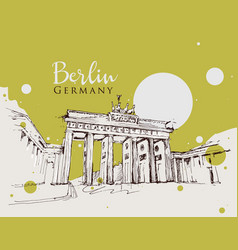Drawing sketch brandenburg gate vector