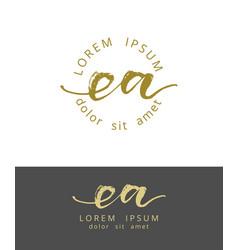 E a initials monogram logo design dry brush vector