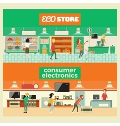 Eco shop and electronic vector