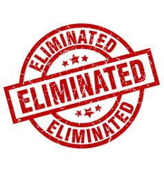 Eliminated round red grunge stamp vector
