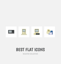 Flat icon laptop set of computer mouse computing vector