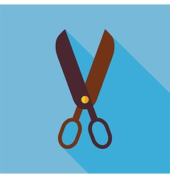 Flat Tool Scissors with long Shadow vector image