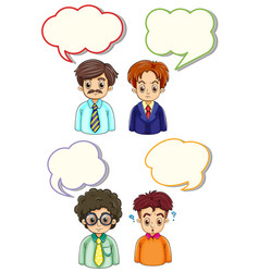 four men and speech bubbles vector image vector image