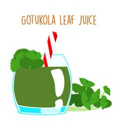 Fresh gotukola juice in glass with tube vector