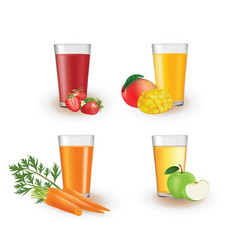 fruit juices in a glass vector image
