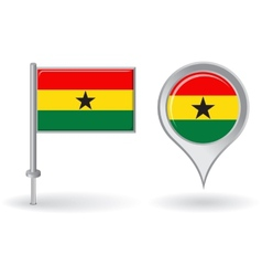 Ghanaian pin icon and map pointer flag vector image