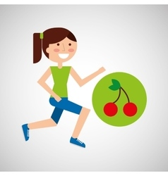 Girl jogger cherry healthy lifestyle vector