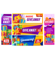 Giveaway colorful banners giving gifts present vector