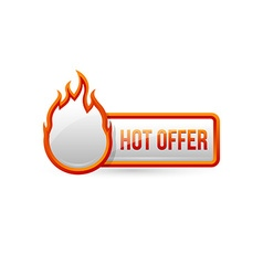 Glossy hot offer button with icon vector