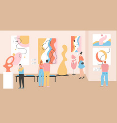 Group people at museum modern art vector