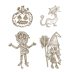 Halloween classics isolated sketch style creatures vector image