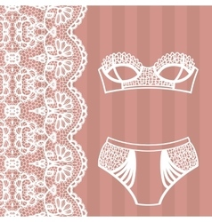 Hand drawn lingerie Panty and bra set vector