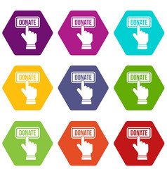 hand presses button to donate icon set color vector image