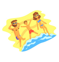 Happy family lying on the beach and sunbathing on vector