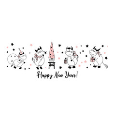 happy new year postcard horizontal with bulls or vector image
