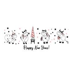 happy new year postcard horizontal with bulls vector image