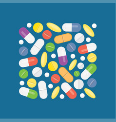 heap of medical pills and tablets vector image