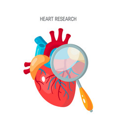 Heart research or diagnotic concept in flat style vector