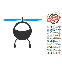 Helicopter Icon With 2017 Year Bonus Symbols vector
