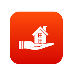 house in hand icon digital red vector image