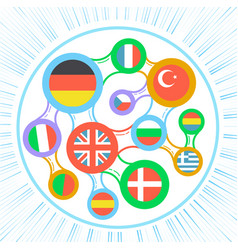 interrelated flags countries icon vector image