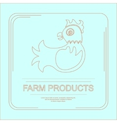 Logotype of farm product with hen vector