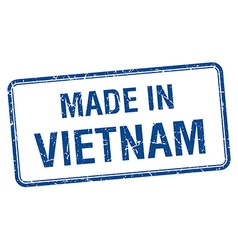made in Vietnam blue square isolated stamp vector image