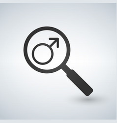 Male gender symbol in magnifying glass vector
