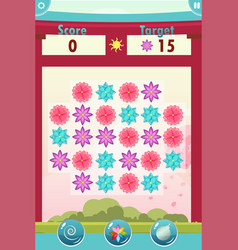 match three game interface with flowers vector image