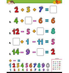 Maths calculation educational worksheet vector