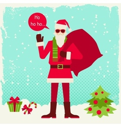 Merry Christmas background with Santa in hipster vector image