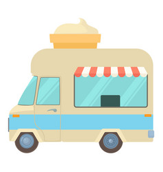 Mobile shop truck with big ice cream cup icon vector