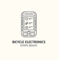 modern linear style bicycle computer logotype vector image