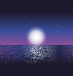 moonlight at the ocean vector image