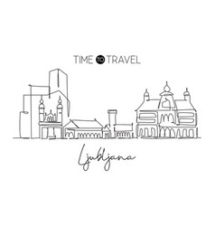 one single line drawing ljubljana city skyline vector image