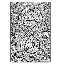 Ouroboros engraved fantasy vector