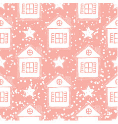 pink christmas seamless pattern vector image