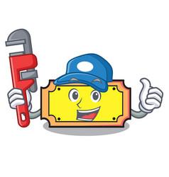 Plumber ticket mascot cartoon style vector