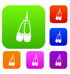 Pointe shoes set collection vector