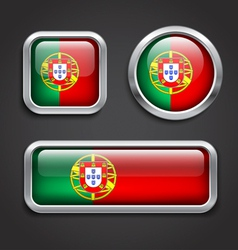 Portugal flag glass buttons vector image