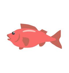 Red fish cartoon flat vector