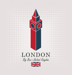 Schematic drawing of the big ben and english flag vector