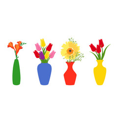 set colored vases with blooming flowers for vector image