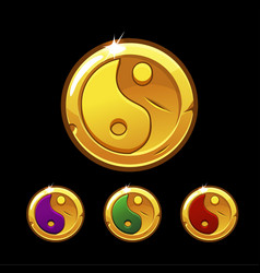 Set different golden chinese amulets yin yang vector