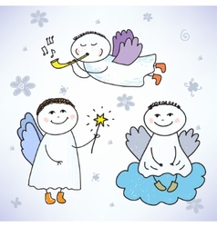Set hand drawn colorful cute angels vector